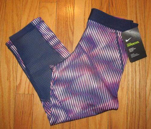 Nike Girls Hyper Cool Purple Navy Athletic Capri Pants L NWT $55