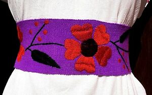 Floral HAND Embroidered Mexican Belts Sash Multiple colors Wrap Around Boho