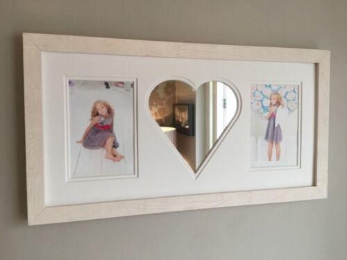 "6/""x4/"" Love Heart Photo Frame Maple Mirror Fits 2-14cm x 9cm"