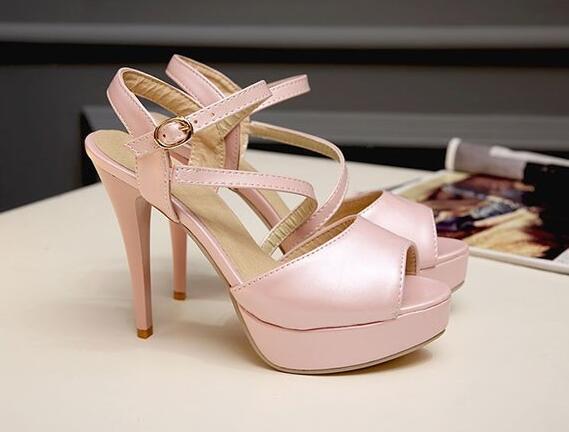 Sandalias de mujer Plataforma rosa tacón aguja talón 11 cm elegantes cómodo 8413