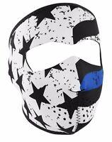 Vintage Usa Flag Blue Line Full Face Neoprene Reversible Motorcycle Ski Mask