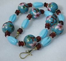 Old China Export Cloisonne Enamel Genuine Stones Elegant Necklace Vintage
