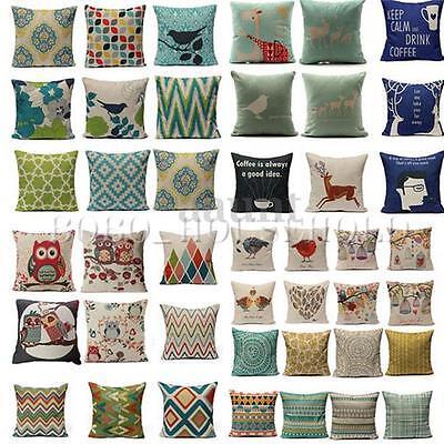 Geometric Flower Cotton Linen Throw Pillow Case Coffee Sofa Car Cushion Cover