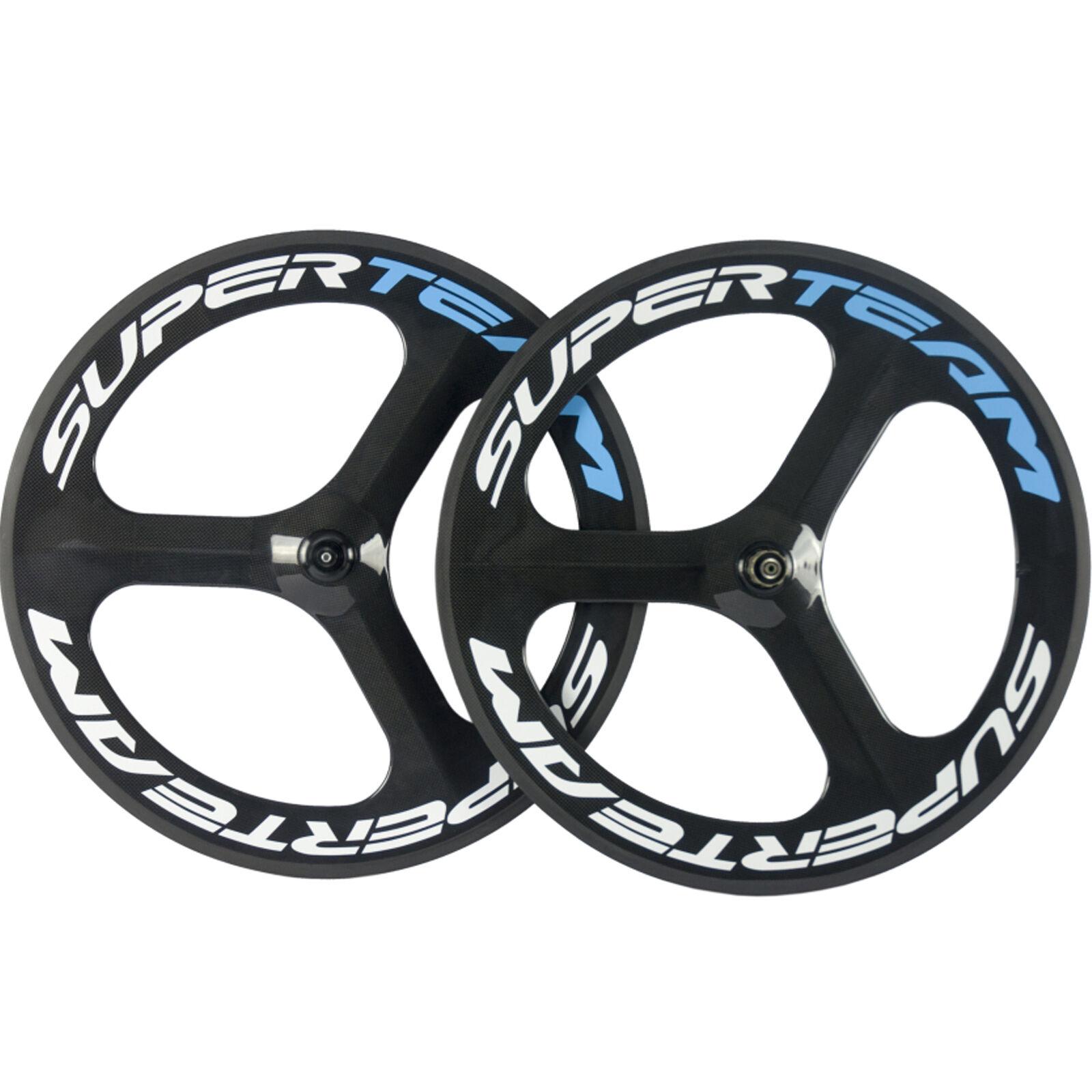 SUPERTEAM 70mm 3 Spoke Wheel Carbon Road Bike Clincher Wheelset Tri Spoke Glossy