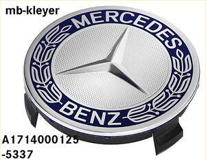 Alufelgen-Stern-1-Satz-Naben-Kappen-Originalteil-Mercedes-Benz-3D-Design-blau
