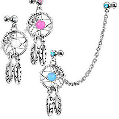 Steel Chain Linked Dream Catcher with Cartilage/Tragus/Helix Gemmed Barbell