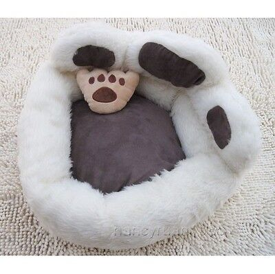 Cute White Bear's Paw Shaped Pet Dog Cat Sofa Bed House Cat Bed Small +toy