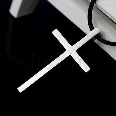 Unisex Stainless Steel Cross Pendant With Necklace Chain 1080 Silver MA