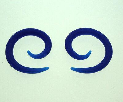 PAIR COBALT BLUE PYREX GLASS SPIRALS GAUGES PLUGS TALONS SMALL DIAMETER SPIRAL