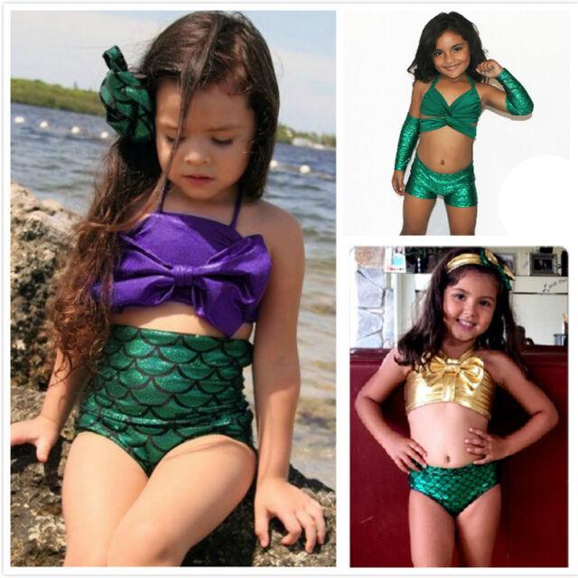 Kids Baby Girls Little Mermaid Bikini Set Swimwear Costume Swimsuit Bathing Suit
