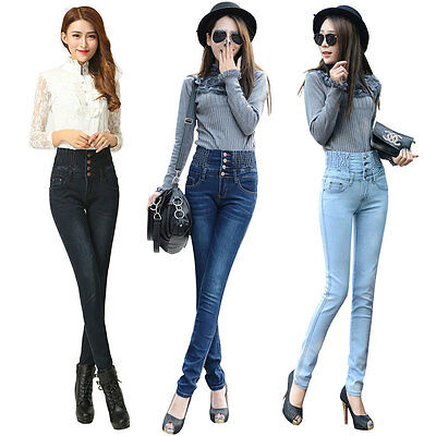 Sexy Women Casual Denim High Waist Skinny Jeans Slim Long Pencil Pants Trousers