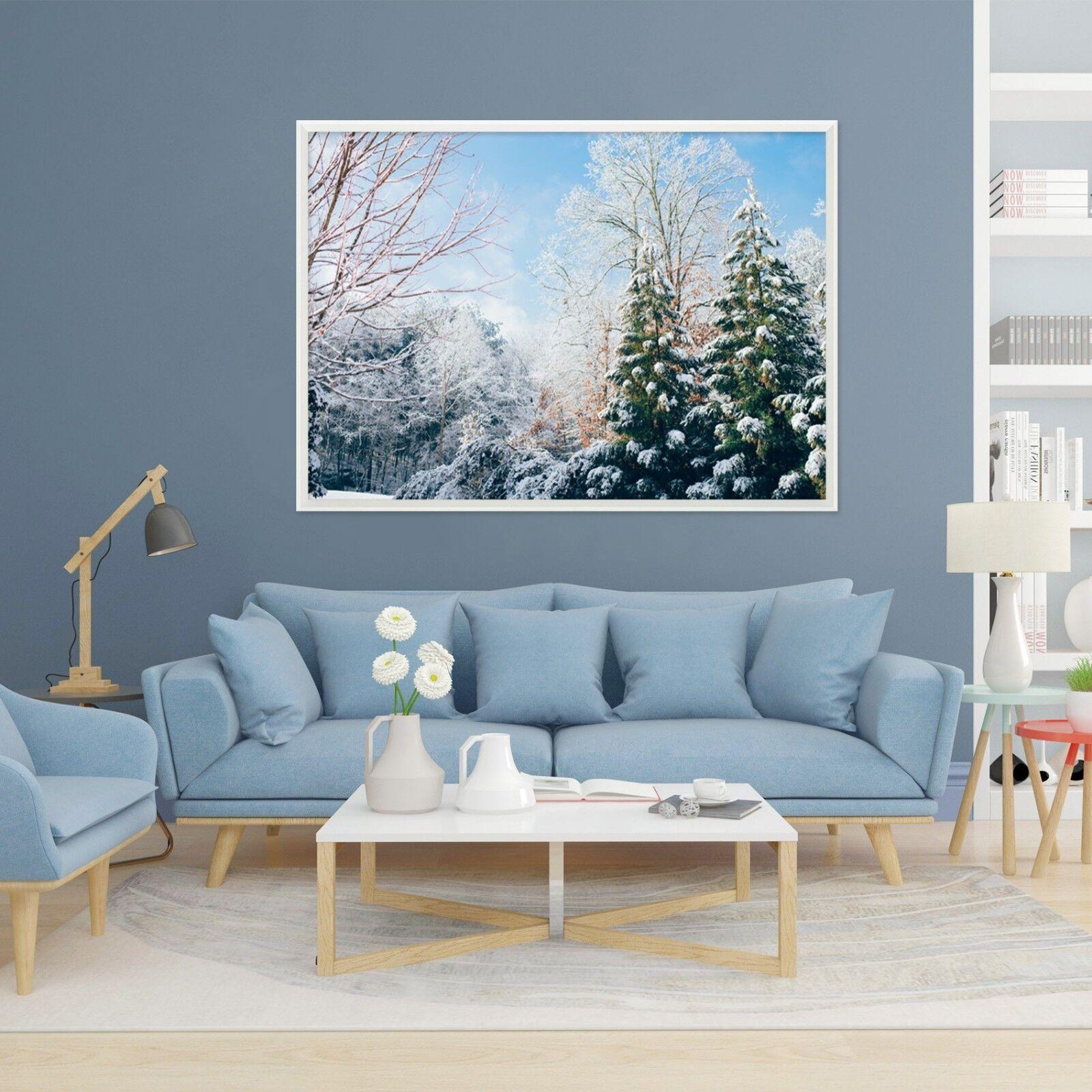 3d neige arbre 62 Encadré Poster à la maison décor imprimer peinture art AJ