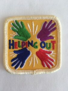 Junior Girl Scouts Troop Camper Camping Badge Patch with Yellow Border