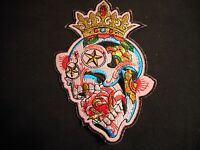Candy Skull Iron-on Patch With Crown