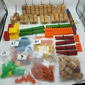 Huge-Vintage-Tinker-Toys-Mixed-Lot-Building-Wood-amp-Plastic-Sorted-amp-Bagged
