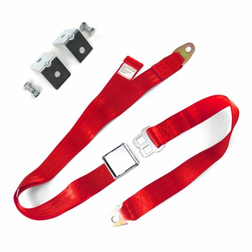 2pt Red Airplane Buckle Lap Seat Belts w// Anchor Plate Hardware Pack SafTboy rod