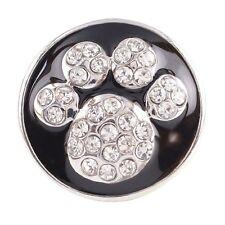 Button Click Druckknopf Hundepfote - Schwarz - kompatibel mit Chunk Armband