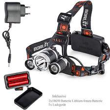 Profi Stirnlampe LED Cree Police Kopflampe 2x PowerAkku 8000LM 3x XM-L T6 Tasche