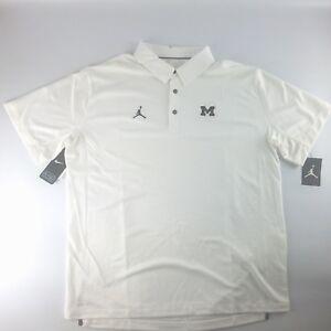 121c26559881ae Jordan Michigan Wolverines On Field Dri-Fit Men s Polo Shirt White ...