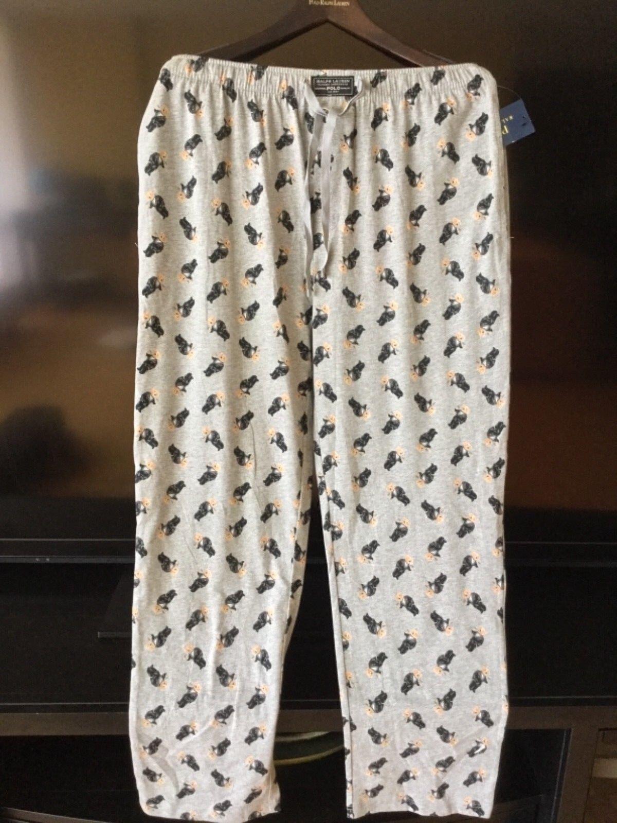Ralph Lauren Polo Bear Relax fit lounge pajama Pants sz L 100% Cotton NWT