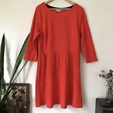 Boden Women's Orange Mod Retro 60s 3/4 Sleeve Fit Flare Dress Size 16r 16