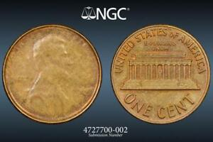 1969 D STRUCK THRU CAPPED DIE ERROR LINCOLN CENT PENNY COIN NGC GRADED MS64