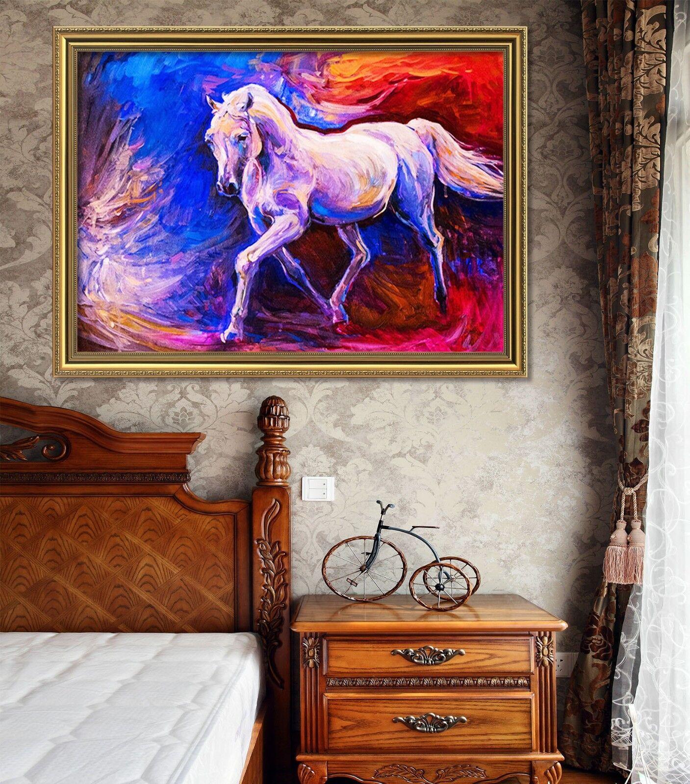 3D pintura al óleo Caballo 5 Póster Enmarcado Decoración del Hogar Pintura de Impresión Arte AJ Wallpaper