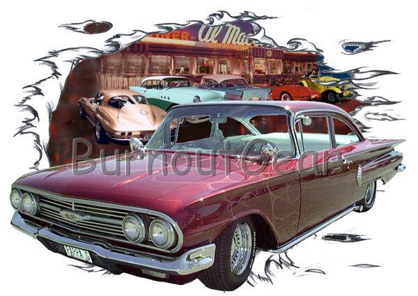 1960 Burgundy Chevy Impala Custom Hot Rod Diner T-Shirt 60 Muscle Car Tees