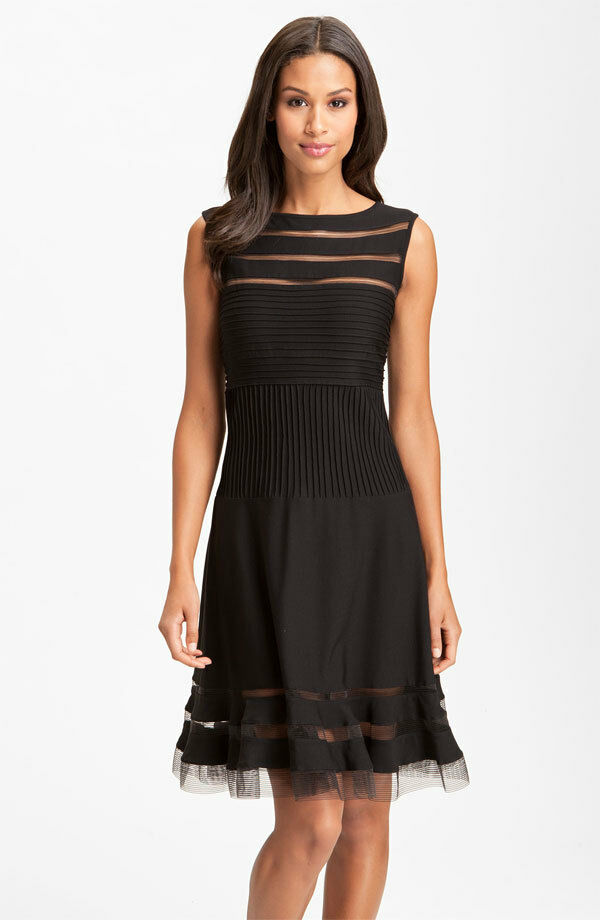 Tadashi Shoji Sleeveless Mesh Stripe Jersey Dress (size XL)