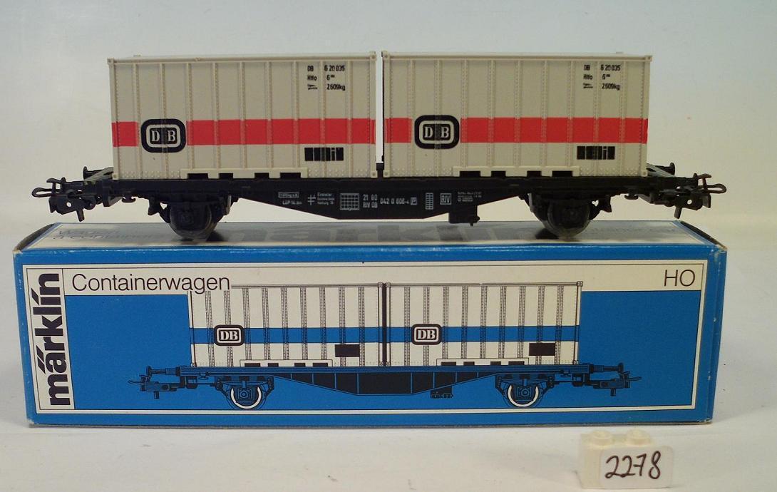 Märklin H0 4664 Containerwagen der DB in blueer Box 80er Jahre