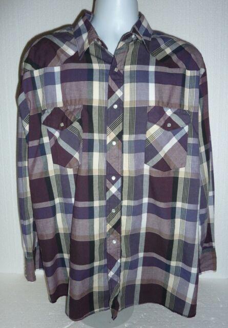 c8768762 Vintage Wrangler Men's Long Sleeve Western Pearl Snap Purple Plaid Shirt XXL
