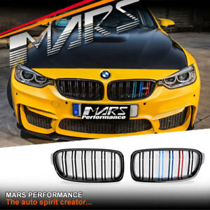 Gloss Black M3 Stripe Style Front Bumper Grille Grill For Bmw 3