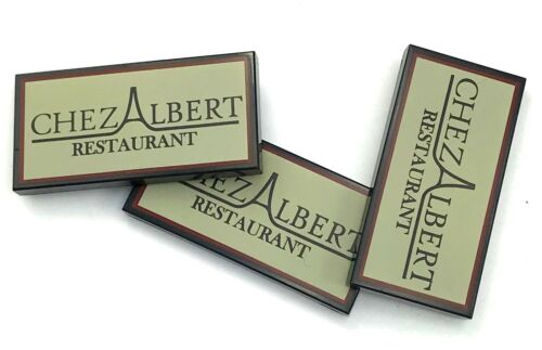 Lego 3 New Black Tiles 2 x 4 with CHEZ ALBERT RESTAURANT Pattern 10243 Piece