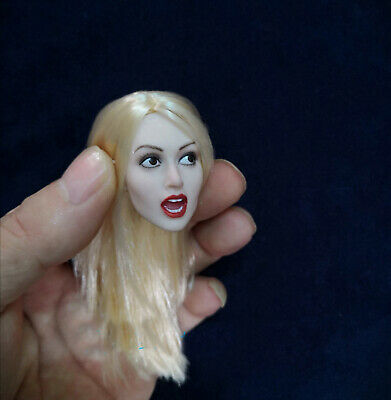 1:6 Female Head Sculpt Blonde Hair Girl Carving Open Mouth For 12/'/' Figure Body