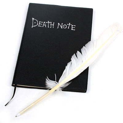 Hot Anime Death Note Notebook Feather Pen Suit Black Note Book Quill Pen Cosplay