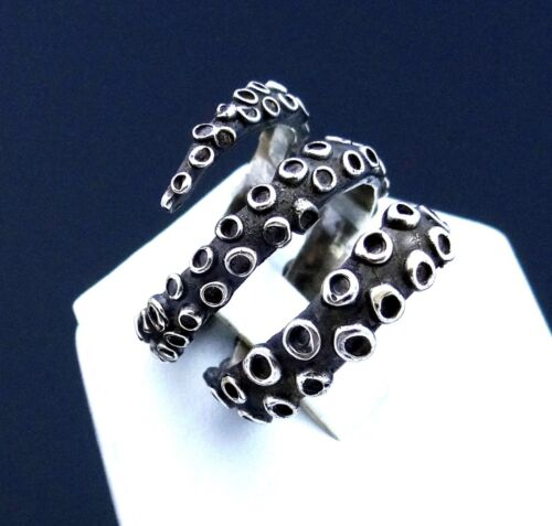 Nautical Ring Octopus Tentacle Ring Silver Octopus Ring Sterling Silver Ring