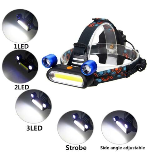 3000LM COB Hauptlicht Stirnlampe LED Wasserdicht Kopflampe Headlamp 18650 Akku