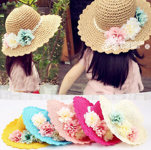 Girl-Infant-Kids-Baby-Children-Sun-Beach-Flower-Cap-Handmade-Straw-Hat-Summer
