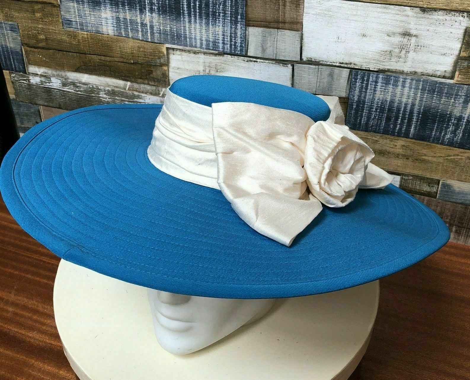 Powder Blue 'Occasion' Large Brimmed Hat With Taffeta Band & Rose 54-56cm