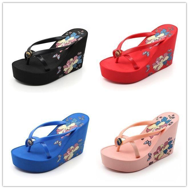 Women's High Heel Sandals Slippers Flip Flops Platform Summer Wedge Sandals Heel Beach Shoes 77b360
