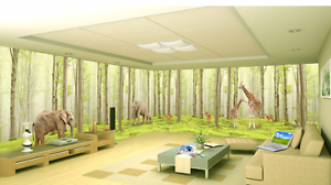 3D Green Grass Trunk Animal Wall Paper Wall Print Decal Wall AJ WALLPAPER CA