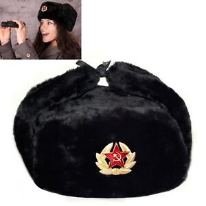 BLACK-RUSSIAN-TRAPPER-HAT-WITH-SOVIET-BADGE-FAUX-FUR-USHANKA-COSSACK-FLAPS
