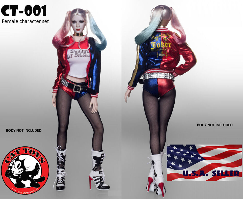 1 6 Harley Quinn Suicide Squad Sexy Clothing Set For 12  Phicen Hot Toys Female
