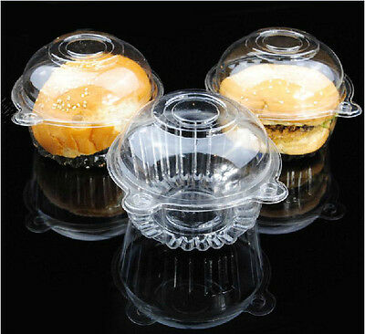 50/100 Clear Plastic Cupcake Case Muffin Pods Dome Single Cup Cake Boxes Holder