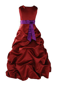 4e292aa26 Detalles de Nuevo Fiesta Niña Flores Dama de Honor Traje Paje 1-13 y  Burdeos + Banda In10