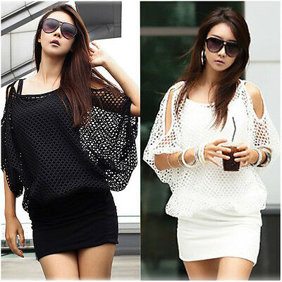 Women Sexy Dress Casual Party Mesh smock Black/White One Size