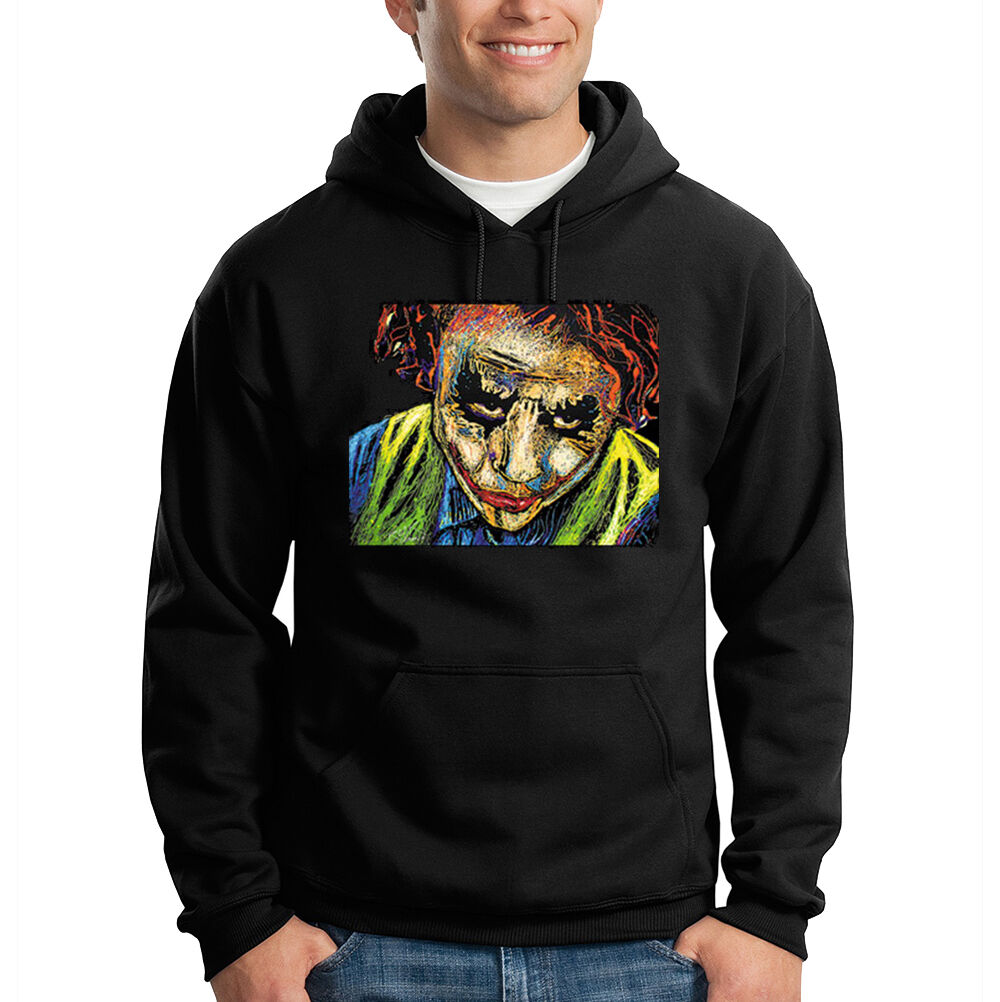 The Joker Batman Movie Heath Ledger Art Design Print Hooded Sweatshirt Hoodie