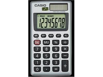 Casio 8 Digit Solar Plus Battery Calculator Auto Off Orange for Pocket or Purse