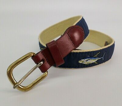 ZEP-PRO Leather Canvas YELLOW FIN TUNA CHASE Ribbon Belt w// Flying Fish