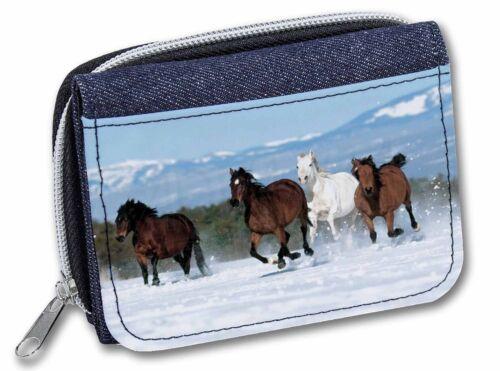 Running Horses in Snow Girls//Ladies Denim Purse Wallet Christmas Gift Id AH-1JW